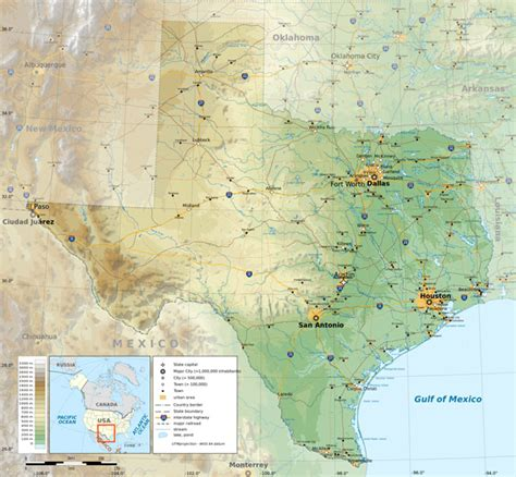 detailed texas map large detailed physical map of the state of texas with roads highways and cities vidiani