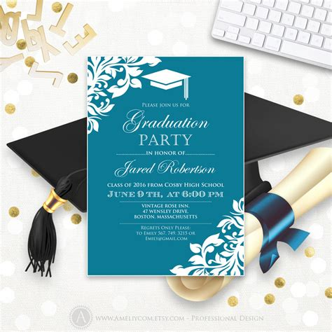 templates for college graduation announcements printable graduation party invitation template blue teal high
