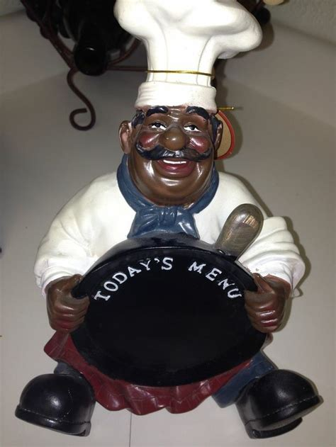 Black Chef Kitchen Decor by Chef Pan Menu Statue American Black Chef