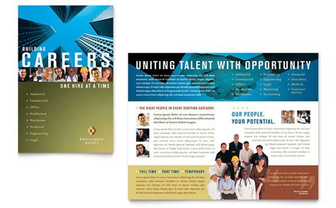 employment agency jobs fair brochure template design