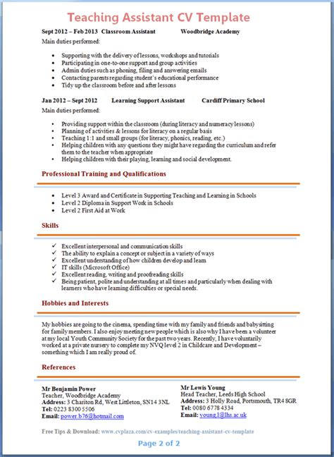 teacher assistant resume sle experience resumes