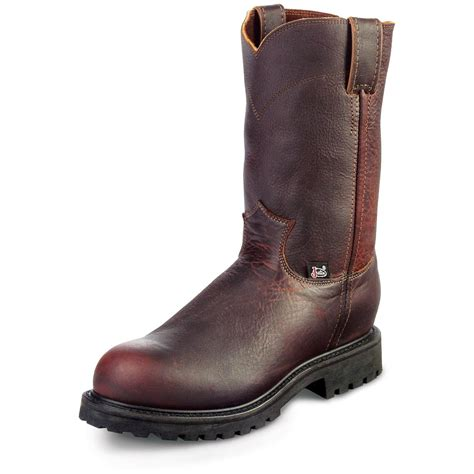 justin pull on work boots s justin 174 10 quot steel toe pull on boots 161771 work