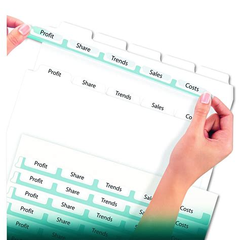 Avery Dennison Index Maker Clear Label Divider Lsr Ij 5 Tab Pack Of 5 Model 11436 Avery 5 Tab Index Template 11436