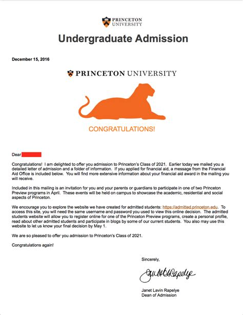 Princeton Acceptance Letter Yes college admit league college admissions counseling