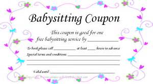 Babysitting Gift Voucher Template by Free Printable Coupons For Unique Gift Ideas