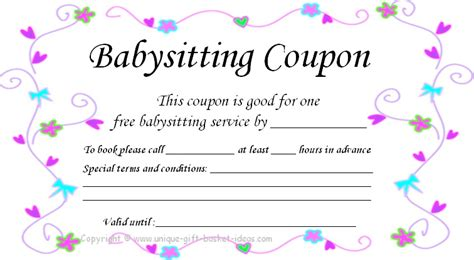 babysitting gift certificate template free printable coupons for unique gift ideas