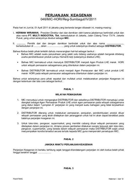 draft perjanjian keagenan hori 2011