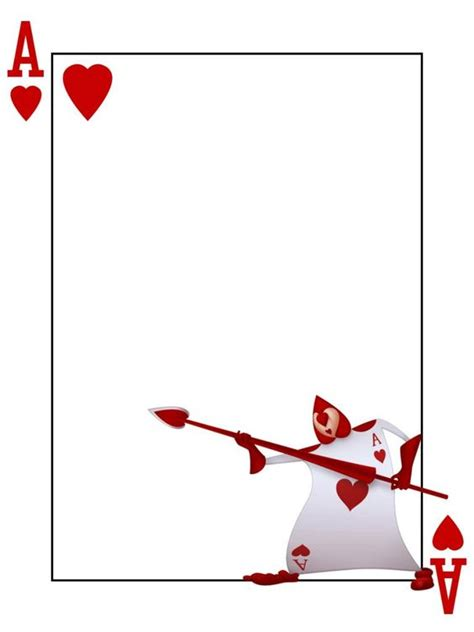 printable deck of cards a4 journal card playing card ace of hearts alice in