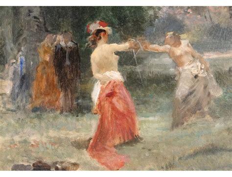 Vintage Crystal Chandeliers Hst Tableau Paysage Femmes Duel 233 P 233 E Emile Bayard Cadre
