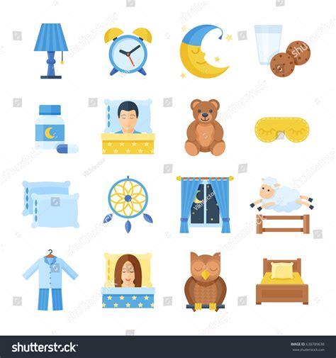 sleep accessories sleep time vector set icons flat stock vector 638789638