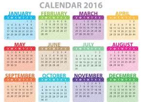 Colorful calendar 2016 download free vector art stock graphics