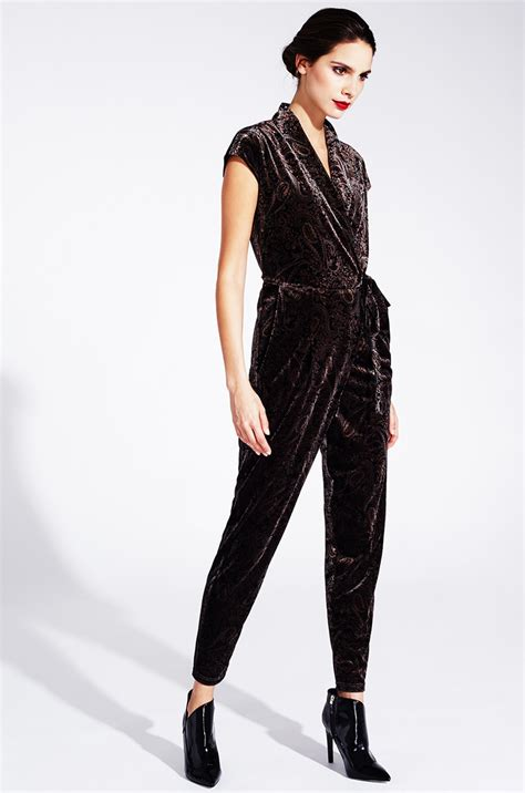 pattern jumpsuits velvet jumpsuit with paisley pattern from kala fashion