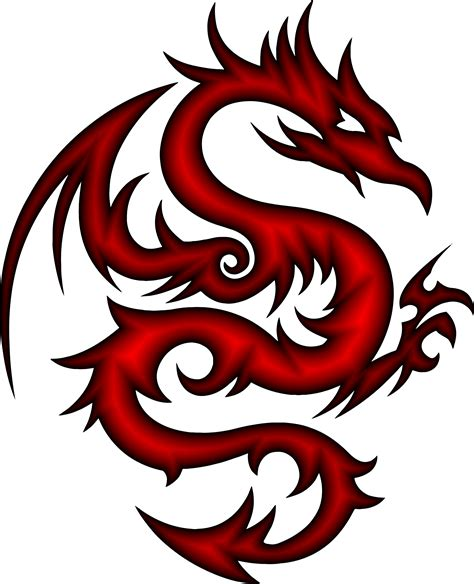 clipart crimson tribal dragon 56