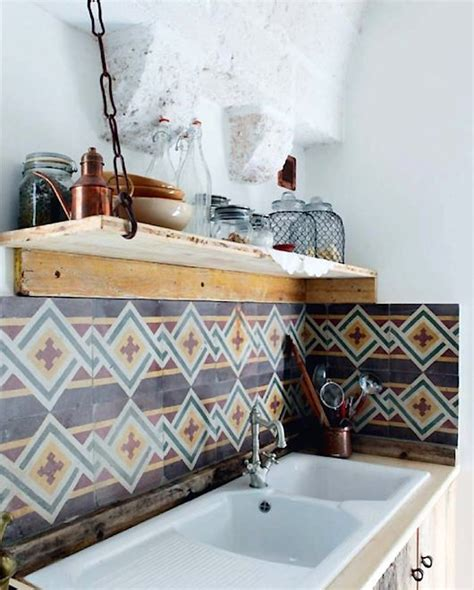 geometric quot tribal quot tile backsplash wood open shelving