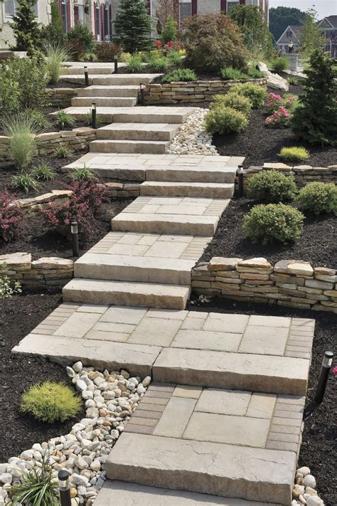 pathway designs perfect walkway for a sloping yard using pavers brick
