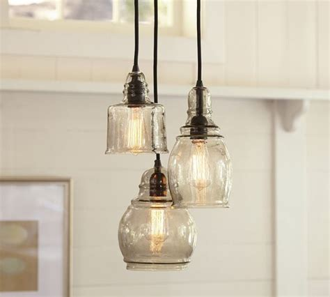 pottery barn kitchen lighting paxton handblown glass 3 light pendant contemporary