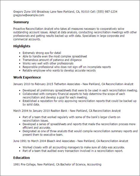 Sle Resume Reconciliation Analyst professional reconciliation analyst templates to showcase