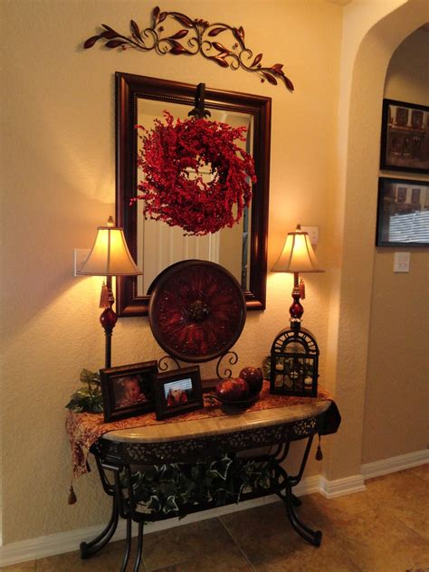 foyer table decor ideas foyer table tuscan style the iron accents