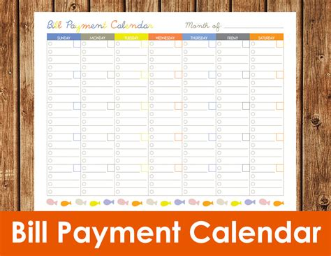 Galerry printable monthly bill planner