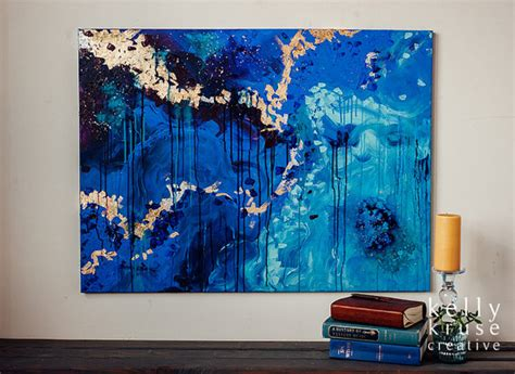 Kemeja Navy Abstract Black Leaf the secret original canvas painting acrylic gold leaf and