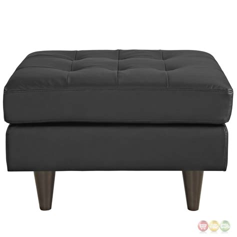 Black Tufted Ottoman Empress Upholstered Leather Ottoman With Button Tufted Accents Black