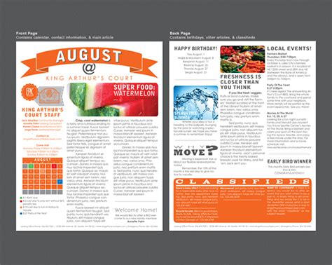 community newsletter template king arthur s court apartment newsletter on behance