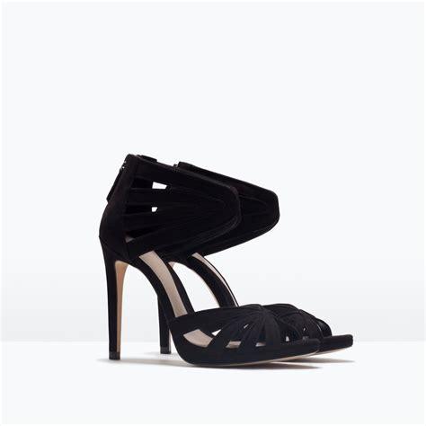 zara heeled sandals zara high heel sandals high heel sandals in black lyst