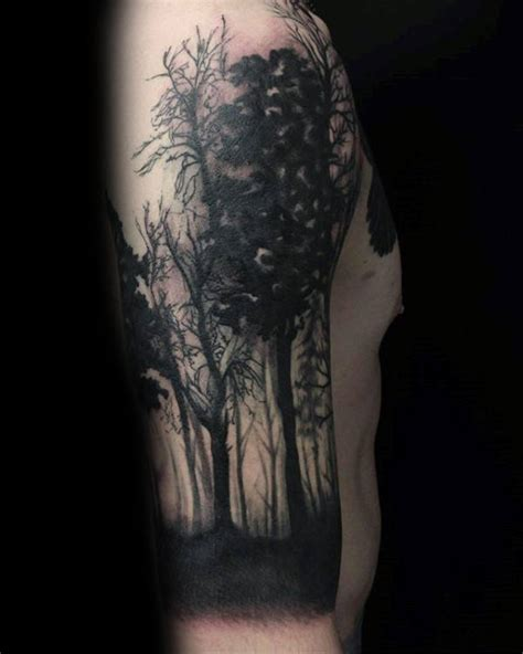 watercolor tree tattoo sleeve collection of 25 black and grey tree on half sleeve