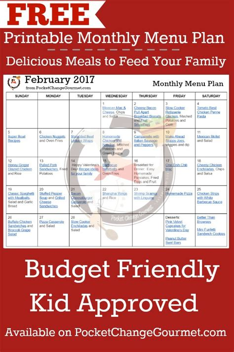 printable budget recipes february menu plan 2017 pocket change gourmet
