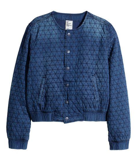 Quilted Denim Jacket by H M Quilted Denim Jacket In Blue Lyst