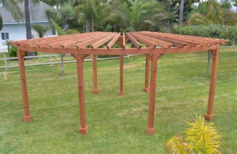 corner pergola fan shaped wood pergola kit for sale