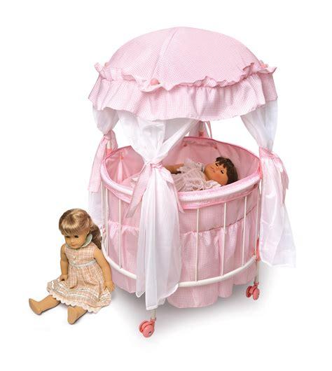 Badger Basket Royal Pavilion Round Doll Crib With Canoby Crib For Baby Doll