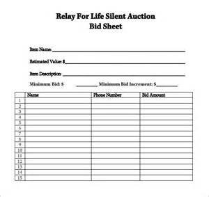 Silent Auction Template by Sle Silent Auction Bid Sheet 6 Exle Format