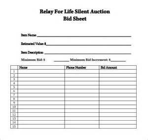 silent auction template free sle silent auction bid sheet 6 exle format