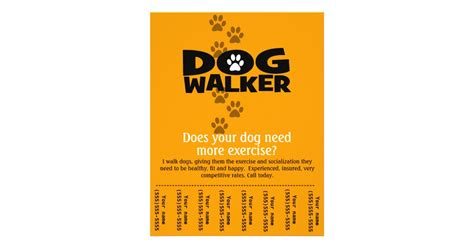 dog walking business tear sheet flyer template zazzle
