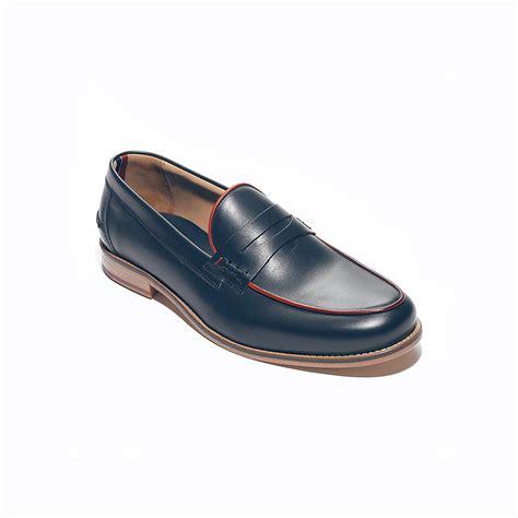 hilfiger loafers hilfiger leather trim detail loafer in blue