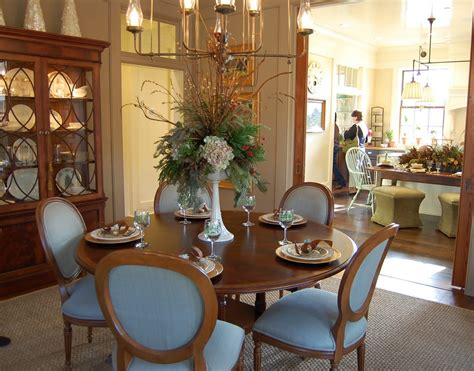 Blue Dining Room Centerpieces Southern Living Idea House In Senoia Kitchen And