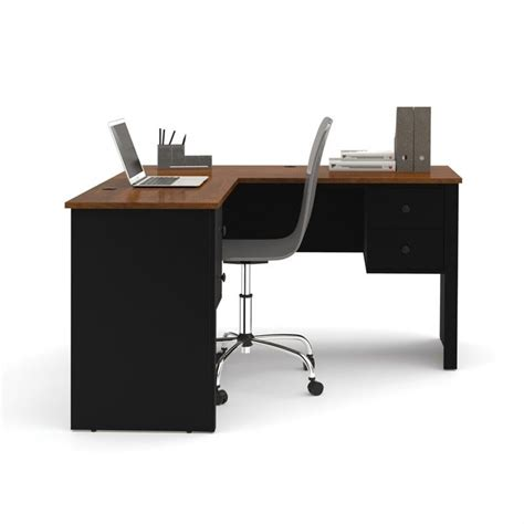 L Shaped Desk Black Bestar Somerville L Shaped Desk In Black And Tuscany Brown 45420 18