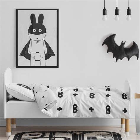 White Cot Bed Duvet Cover Superhero Print Children S Bedding Set By Ta Da