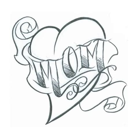 heart mom tattoo banner sketch golfian