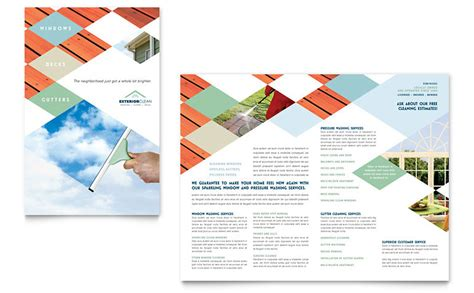 Window Cleaning Pressure Washing Brochure Template Word Publisher Pressure Washing Template