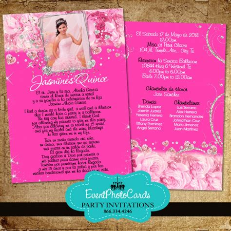 pink floral roses quinceanera invitations sweet