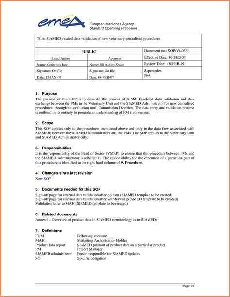 process template word standard operating procedure template word 2010 excel