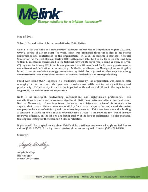 Service Letter For Hr Manager Keith Finitzer Letter Of Recommendation From Angela Bradley Hr Manager