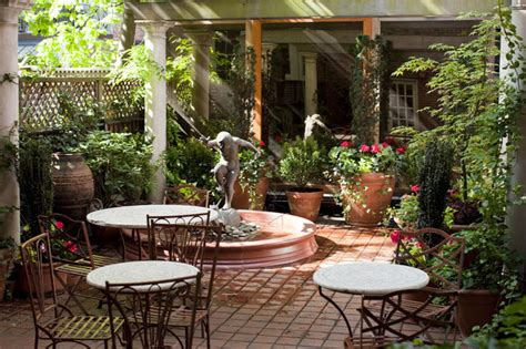 table top grow l nyc courtyard garden design mediterranean patio bistro