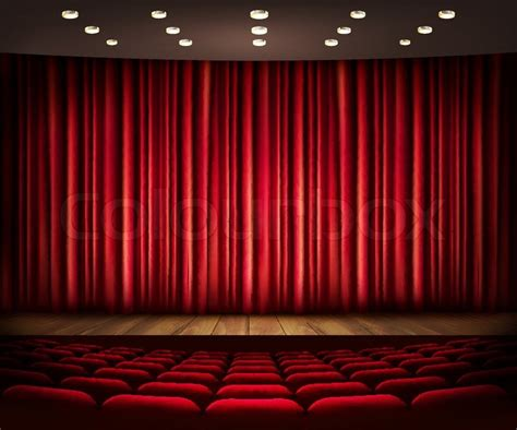 cinema drapes cinema or theater scene with a curtain vector stock