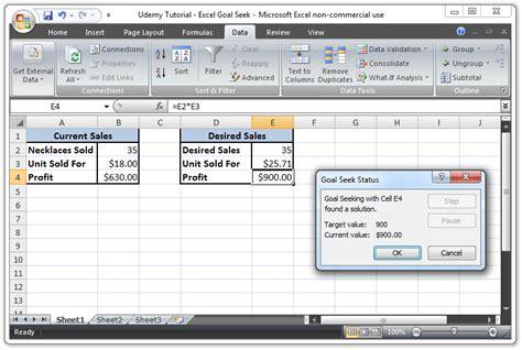 goal seek tutorial excel 2010 what if analysis tool in excel 2013 excel s business
