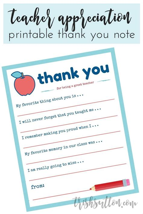 printable thank you notes for teachers to give to students teacher appreciation week printable thank you note