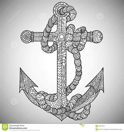 anchor and in the zentangle style stock vector