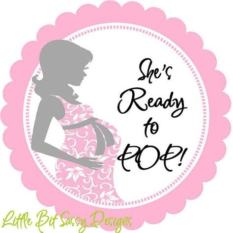 ready to pop stickers template baby shower to be she is ready to pop personalized
